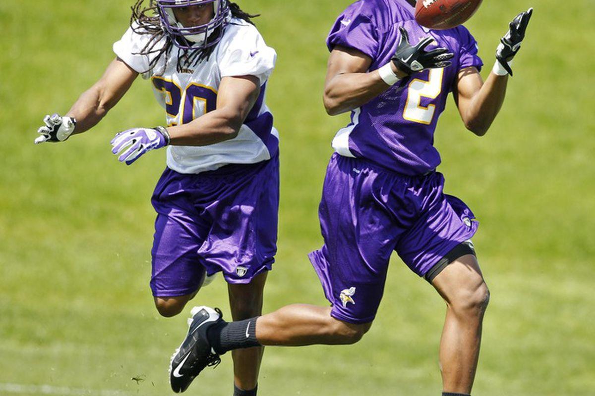 May 4, 2012; Eden Prairie, MN, USA; Minnesota Vikings wide receiver Kamar Jorden (2) catches a pass past cornerback Corey Gatewood (20) in drills at rookie camp at Winter Park. Mandatory Credit: Bruce Kluckhohn-US PRESSWIRE