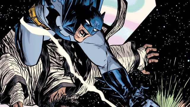 Batman and Vandal Savage leap through a portal after the White Lantern ring in Batman Odyssey #6, DC Comics (2019).