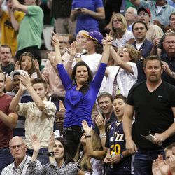 Fans cheer as the Utah Jazz and the Phoenix Suns play Tuesday, April 24, 2012 in Energy Solutions arena.