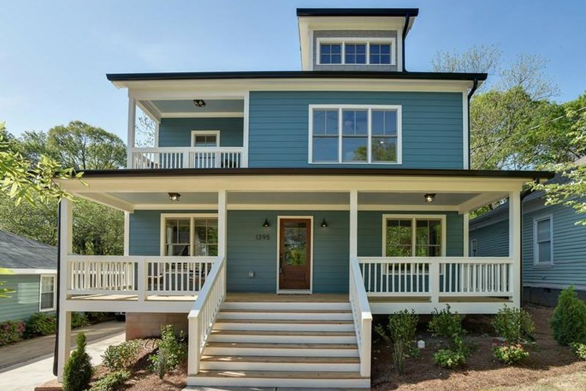 A large blue home recently built in East Atlanta Village that went under contract.