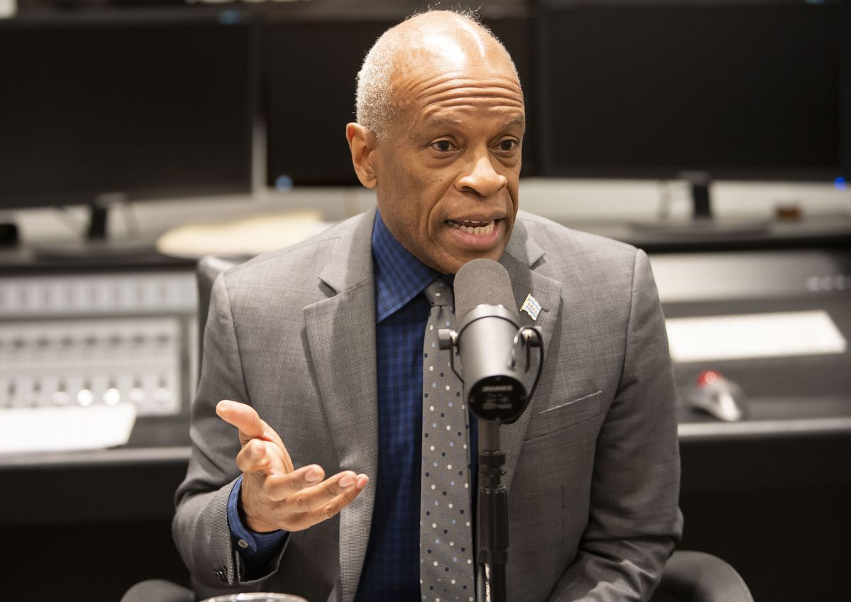Chicago's Planning and Development Commissioner Maurice Cox is interviewed Thursday by Chicago Sun-Times reporters Fran Spielman and David Roeder.