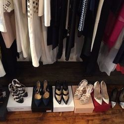 """""""So many shoes! These are by (left to right) <strong>Proenza Schouler, Pierre Hardy, L.A.M.B., Celine, Prada, Valentino, </strong>and <strong>Marissa Webb</strong>."""""""