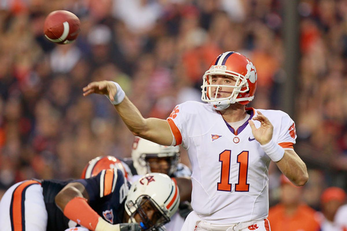 AUBURN AL - SEPTEMBER 18:  Quarterback Kyle Parker #11 of the Clemson Tigers passes against the Auburn Tigers at Jordan-Hare Stadium on September 18 2010 in Auburn Alabama.  (Photo by Kevin C. Cox/Getty Images)