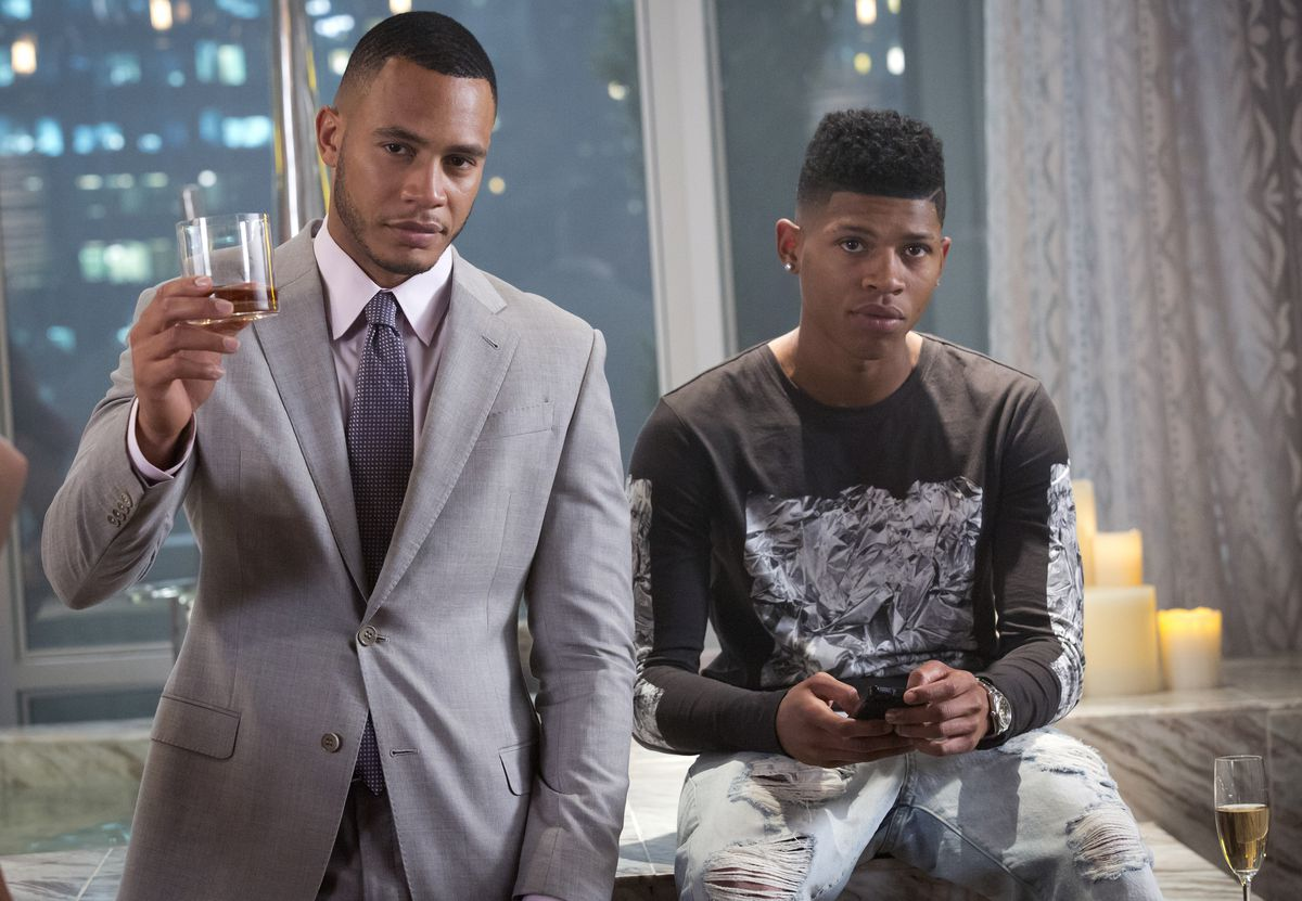 Trai Byers as Andre Lyon and Bryshere Y. Gray as Hakeem Lyon on Empire.