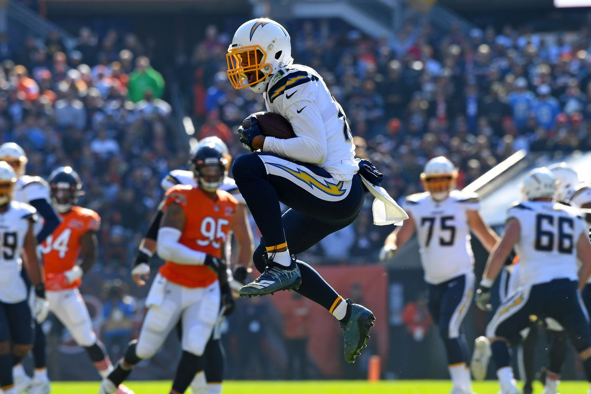 Los Angeles Chargers wide receiver Keenan Allen (13) makes a catch against the Chicago Bears during the second half at Soldier Field.