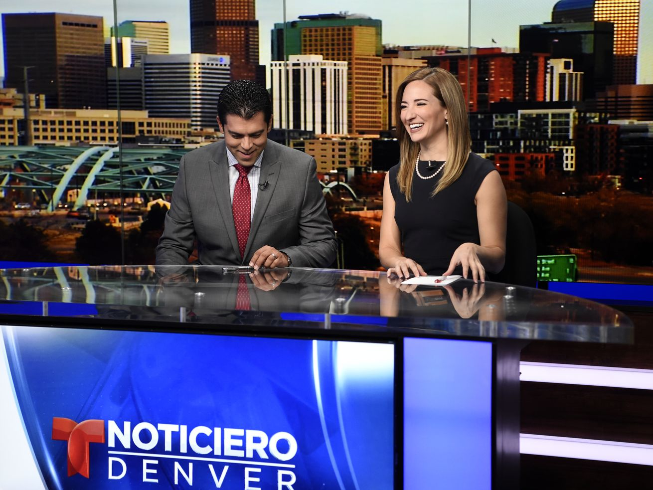 Anchors prepare for an afternoon newscast at Telemundo Denver on Monday, March 28, 2016.
