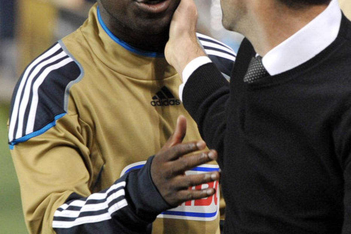 CHESTER, PA - SEPTEMBER 29: Freddy Adu #11 of the Philadelphia Union talks with coach Ben Olsen of D.C. United at PPL Park on September 29, 2011 in Chester, Pennsylvania. The Union won 3-2. (Photo by Drew Hallowell/Getty Images)
