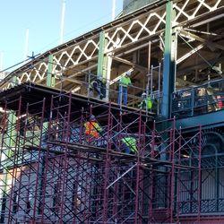 Scaffolding near main entrance