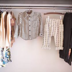 """Ace & Jig button-up, <a href=""""http://www.honeyintherough.com/Ace-and-Jig-Check-Button-Up.html/?"""">$85</a>, and pants, $75"""