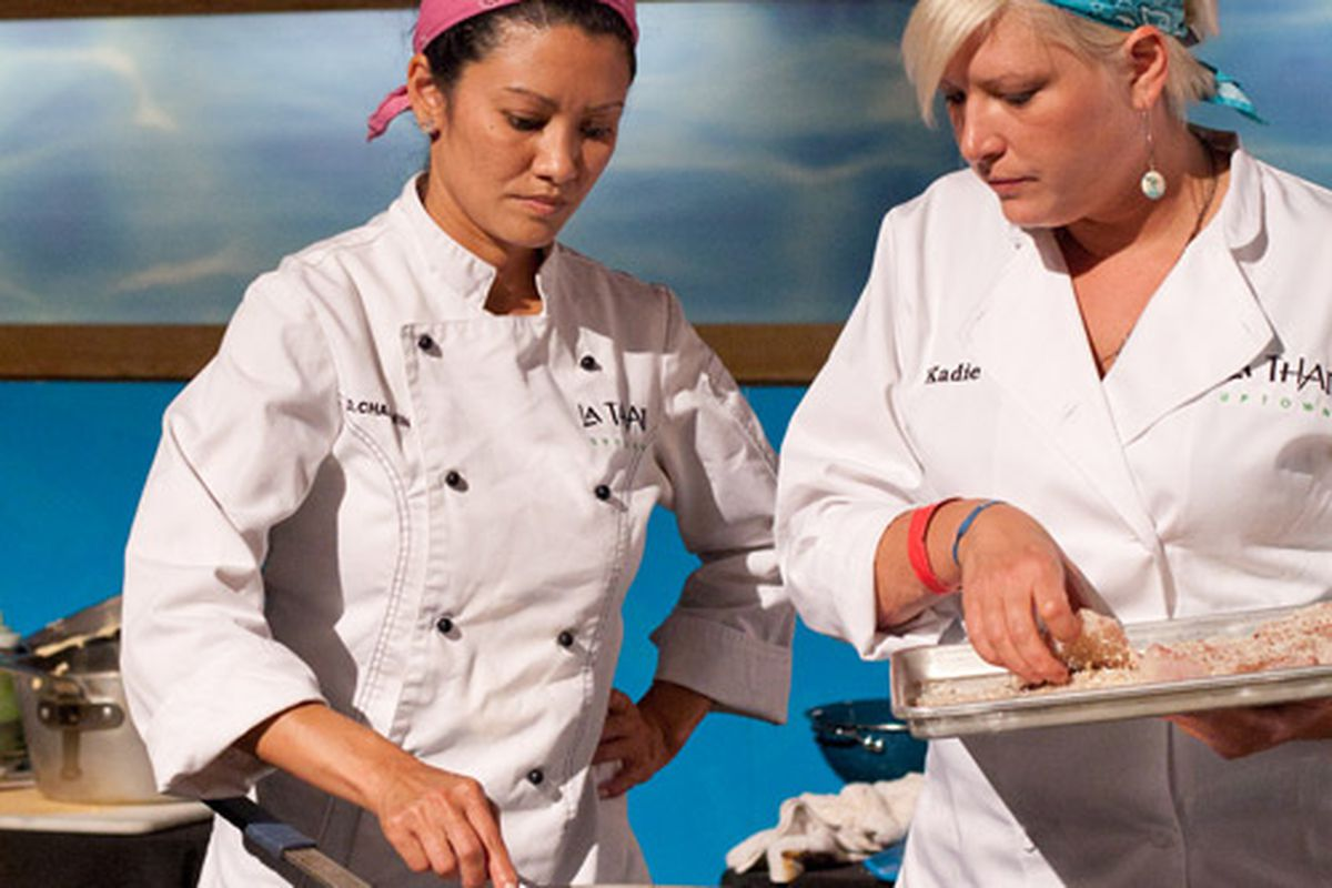 La Thai chef Diana Chauvin at the Louisiana Seafood Cookoff in the New Orleans Food & Wine Experience.
