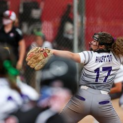 Riverton's Chloe Borges pitches against Weber in a 6A softball playoff game in Spanish Fork on Tuesday, May 25, 2021.