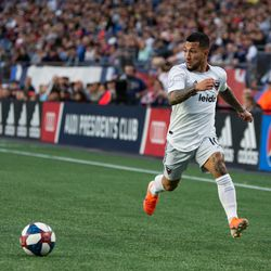 FOXBOROUGH, MA - MAY 25: D.C. United midfielder Luciano Acosta #10 receives a pass during the first half against the New England Revolution at Gillette Stadium on May 25, 2019 in Foxborough, Massachusetts. (Photo by J. Alexander Dolan - The Bent Musket)