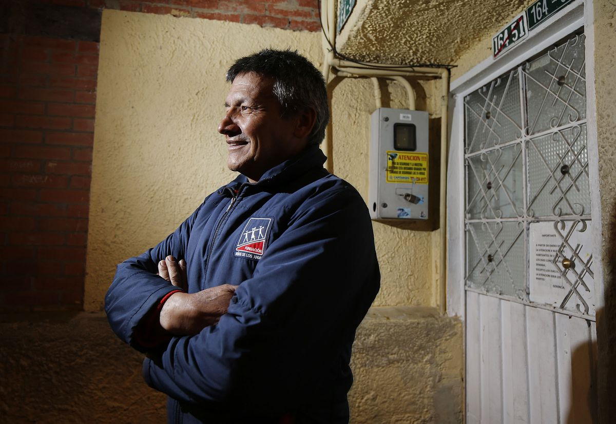 Luis Jimenez of Fundacion Ninos de Los Andes poses for a photo in Bogota, Colombia, on Friday, Aug. 23, 2019. In the past, he went into the sewers of Bogota to rescue children.
