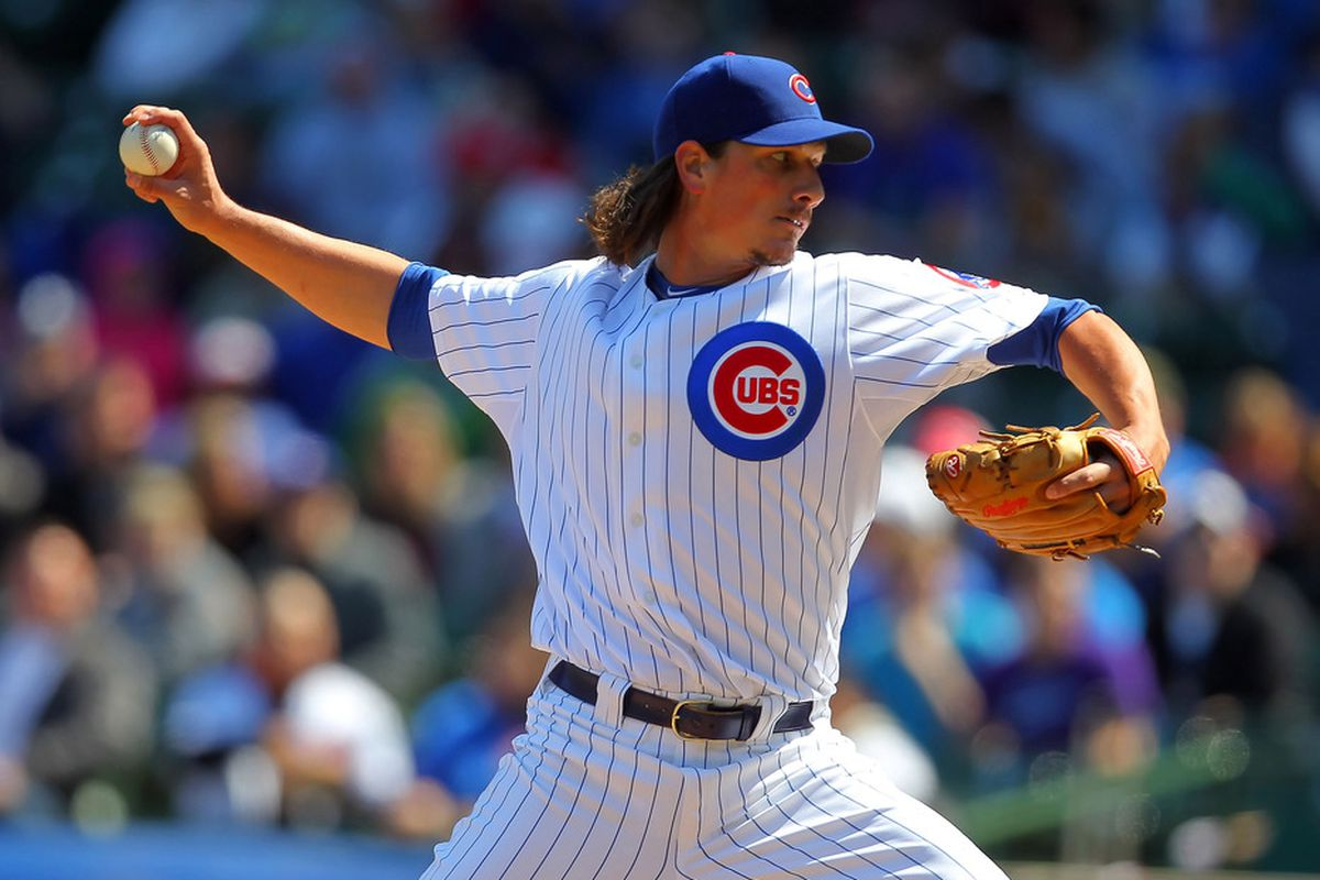 Chicago, IL, USA; Chicago Cubs relief pitcher Jeff Samardzija delivers a pitch during the first inning against the Washington Nationals at Wrigley Field. Credit: Dennis Wierzbicki-US PRESSWIRE