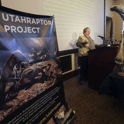 State paleontologist James Kirklanddiscusses HB322, which would create Utahraptor State Park in the Dalton Wells area near Moab, during a press conference at the Capitol in Salt Lake City on Friday, Feb. 14, 2020.
