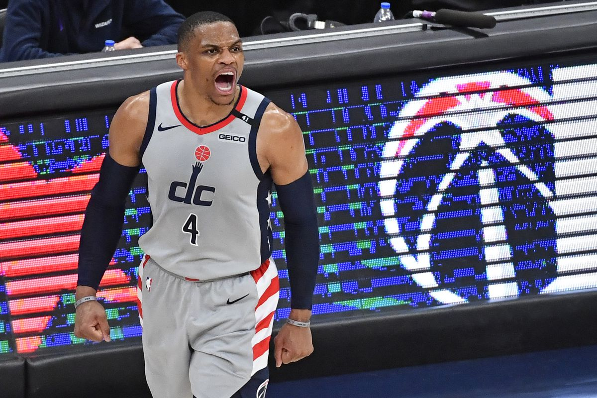 Washington Wizards guard Russell Westbrook reacts against the Charlotte Hornets during the fourth quarter at Capital One Arena.