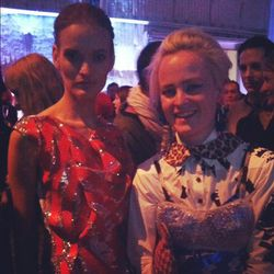 Designer Louise Gray (right) with model in her design.