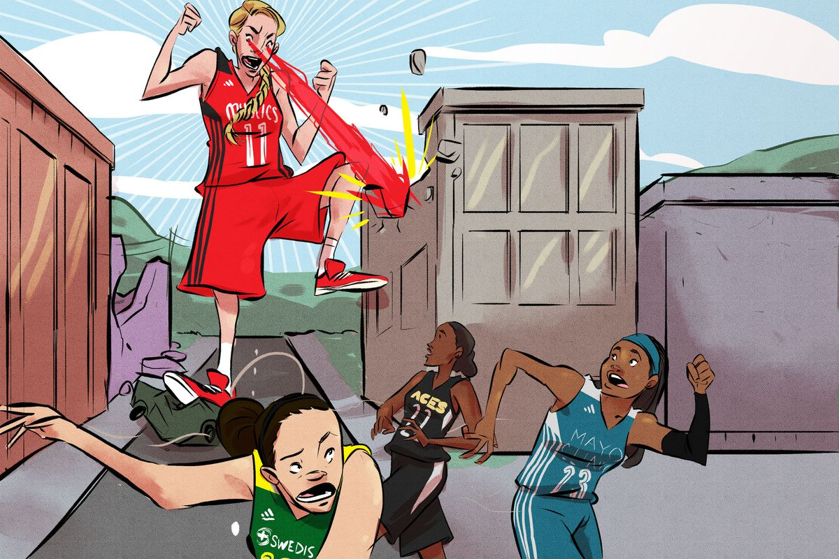 Illustration of Elena Delle Donne destroying buildings with her eyes as other WNBA players run away