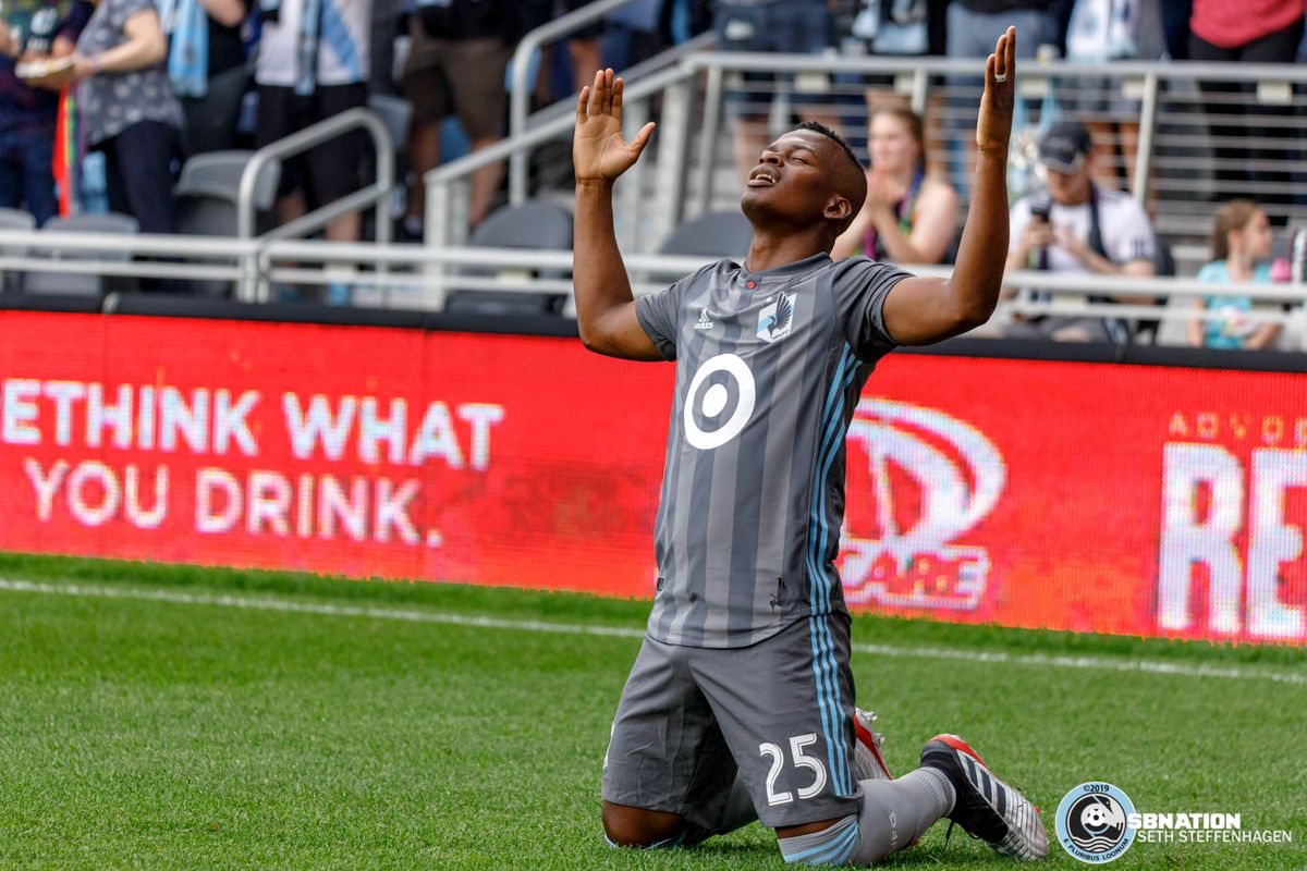 July 3, 2019 - Saint Paul, Minnesota, United States - Minnesota United forward Darwin Quintero (25) pauses to reflect after scoring the opening goal against San Jose Earthquakes match at Allianz Field.