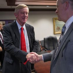 Libertarian vice presidential candidate Bill Weld arrives to speak with the Deseret News and KSL editorial board in Salt Lake City on Friday, Aug. 19, 2016.