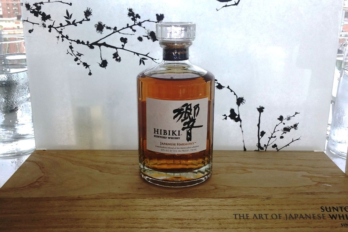 Hibiki Japanese Harmony displayed at a launch event in New York. It replaces Hibiki 12 in the brand's lineup.