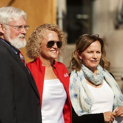 University of Utah President David W. Pershing, left, Salt Lake City Mayor Jackie Biskupski and Sarah Wright, director of Utah Clean Energy, pose for a picture at the announcement of the U Drive Electric program at the Salt Lake City-County building on Monday, Sept. 12, 2016. The program, which runs through Oct. 31, includes discounts of up to 25 percent off multiple makes and models of electric and plug-in hybrid vehicles. The program extends the offer beyond the U. community to include Salt Lake City residents.