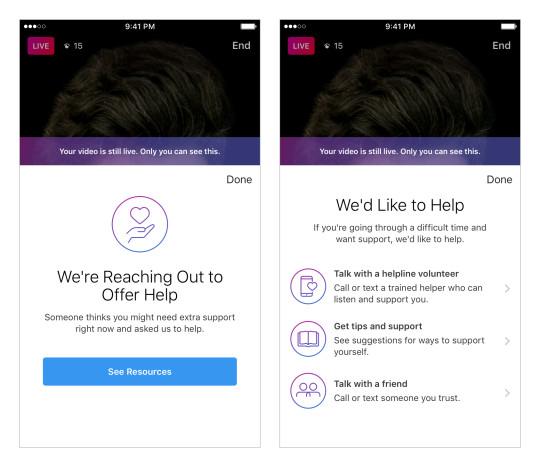 Instagram mental health resources pop up