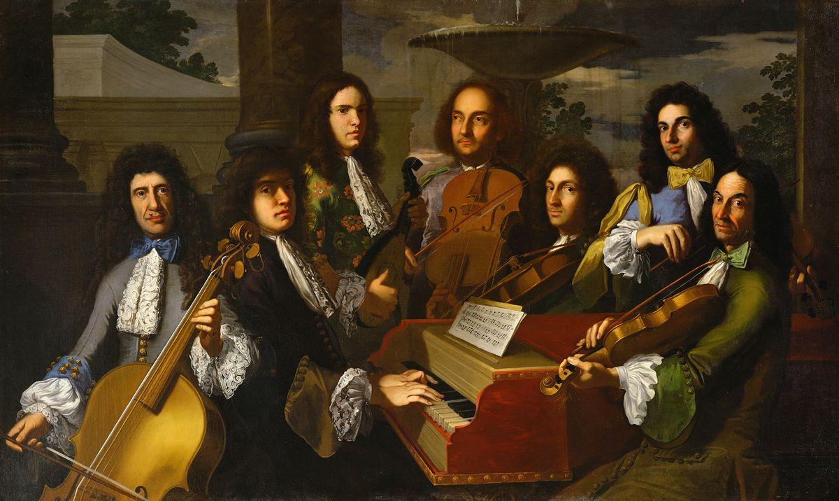 A portrait of Ferdinando de Medici with his musicians.