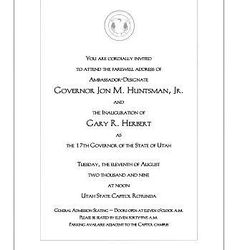 An Invitation to Tuesday's inauguration of Utah's 17th Governor.