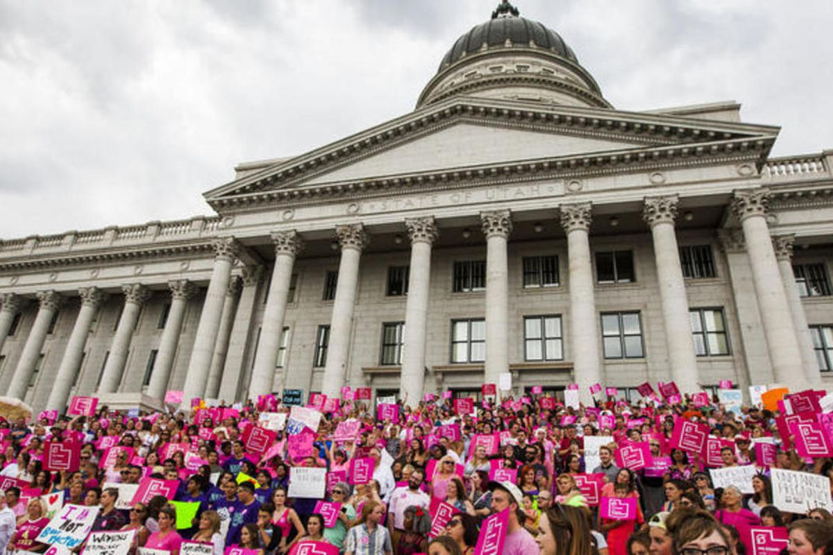 FILE: Thousands of supporters attended the press conference and rally held by the Planned Parenthood Action Council of Utah outside the state Capitol in Salt Lake City on Tuesday, Aug. 25, 2015.
