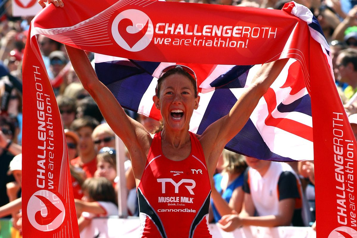 ROTH, GERMANY - JULY 10:  Chrissie Wellington of England wins the Challenge Roth Triathlon with a new long distance world record on July 10, 2011 in Roth, Germany.  (Photo by Alexander Hassenstein/Getty Images for Challenge Roth)