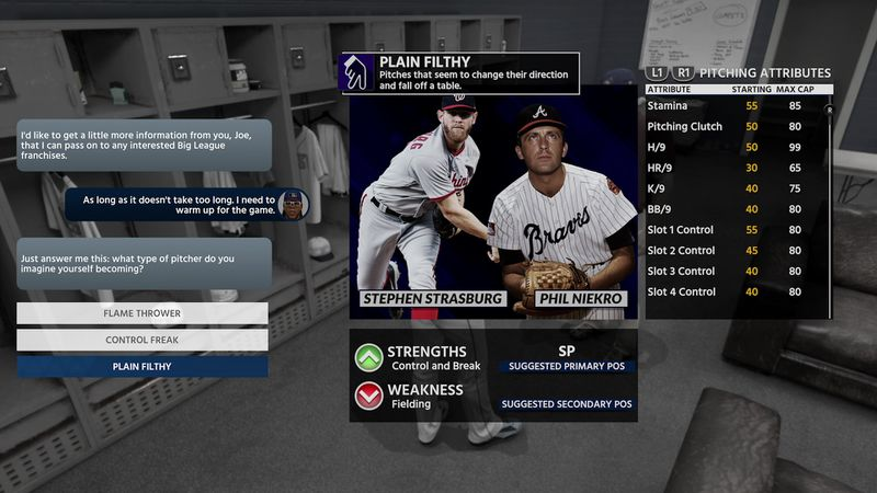 MLB The Show 18 Road to the Show - Plain Filthy archetype for starting pitchers