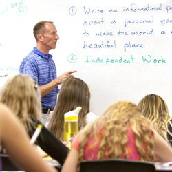 Brandon Maulis, sixth-grade teacher at Butterfield Canyon Elementary in Herriman, works with his 30 students Wednesday, Aug. 28, 2013.