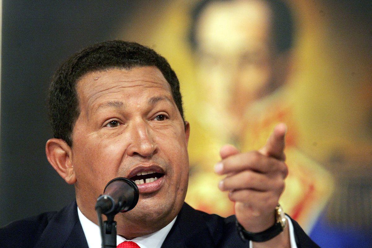 Former Venezuelan President Hugo Chavez speaks at a press conference in Miraflores Palace November 30, 2006 in Caracas, Venezuela.