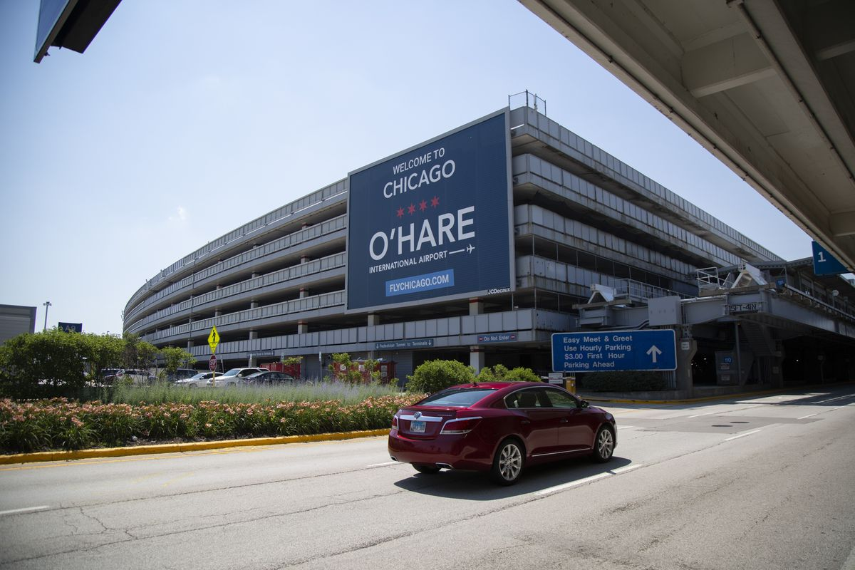 O'Hare Airport pictured in July. Transit workers will begin receiving COVID-19 vaccinations at the Hilton Chicago O'Hare on Friday.