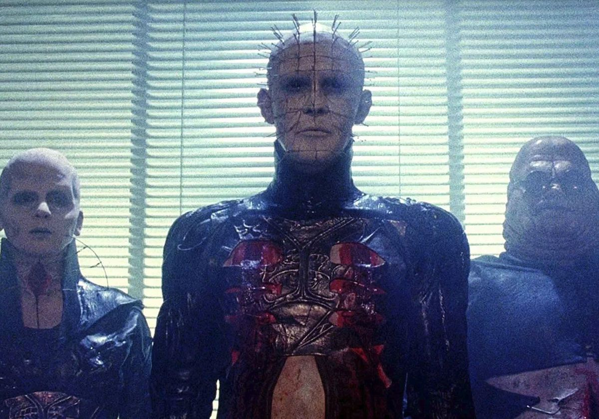 Hellraiser: Pinhead and his cenobites stand in front of the blinds