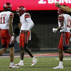 Utah Utes quarterback Tyler Huntley is slow to get up and left the game after being tackled by Arizona Wildcats linebacker Tony Fields II in Tucson, Arizona, on Friday, Sept. 22, 2017. Utah beat Arizona 30-24.