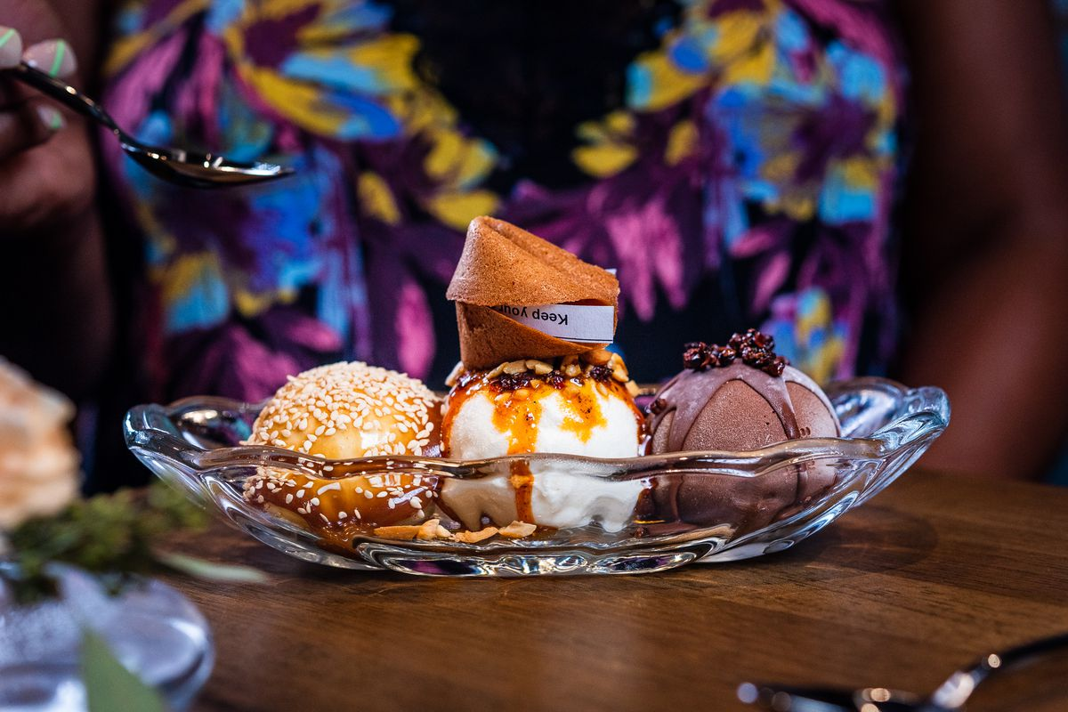 A mala sundae from Emilie's features honey custard, Sichuan chocolate, and condensed milk ice creams
