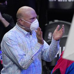Los Angeles Clippers owner Steve Ballmer claps during the second half in Game 6 of a second-round NBA basketball playoff series against the Utah Jazz Friday, June 18, 2021, in Los Angeles.