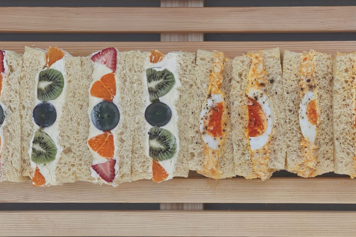 Japanese fruit sandwich and egg salad sandwich from Kumo