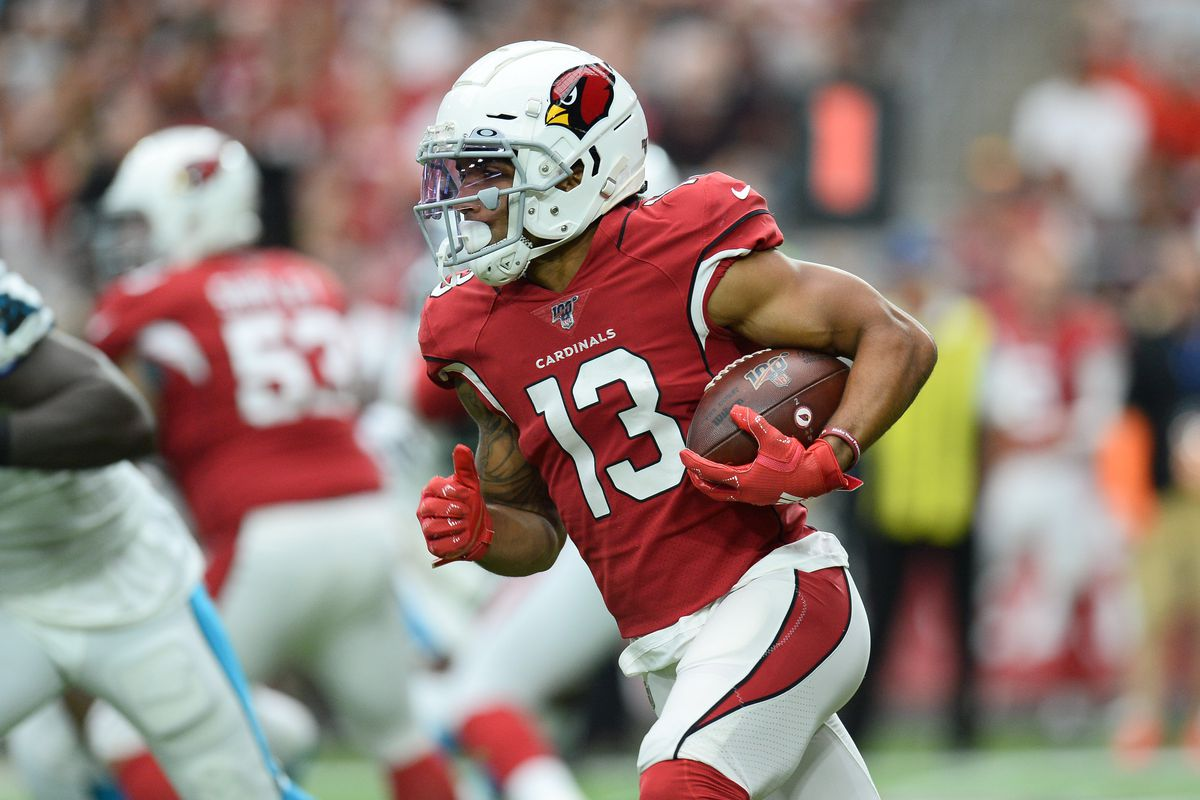 Arizona Cardinals wide receiver Christian Kirk running with the ball against the Carolina Panthers at State Farm Stadium.