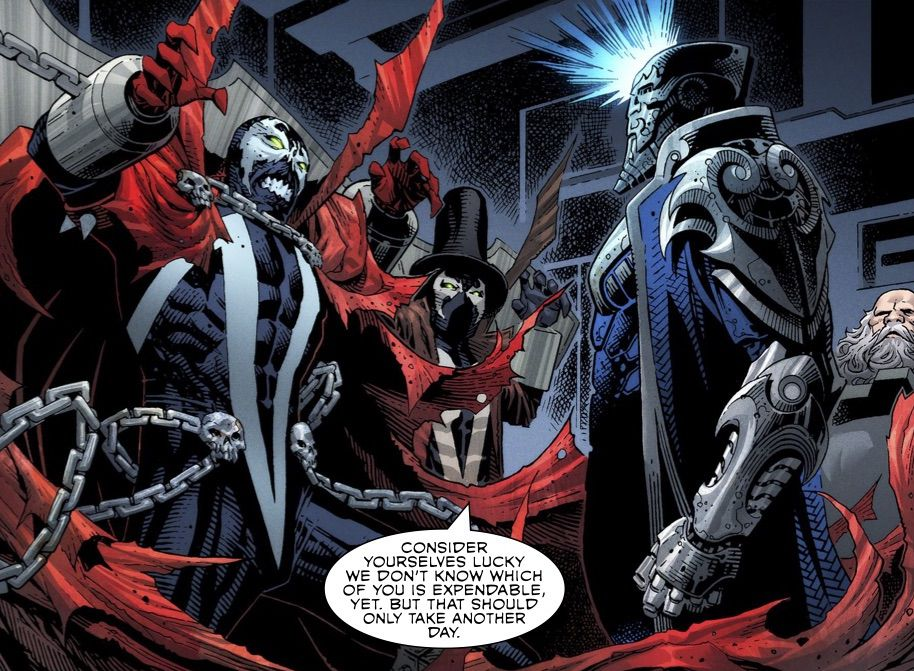 The Disruptor threatens Spawn, Gunsligher, and Sinn in Spawn's Universe #1 (2021).