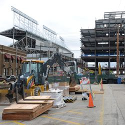 12:09 p.m. Construction materials and equipment in the Blue Lot -