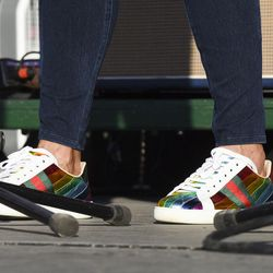Barb Young, Steve Young's wife, wears festive shoes during the LoveLoud Festival at Utah Valley University on Saturday, Aug. 26, 2017, in Orem.