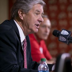 University of Utah director of athletics Chris Hill speaks at a press conference where he announced that the university will begin sponsoring men's lacrosse as an NCAA sport starting in 2018-19 at the university in Salt Lake City on Friday, June 16, 2017.