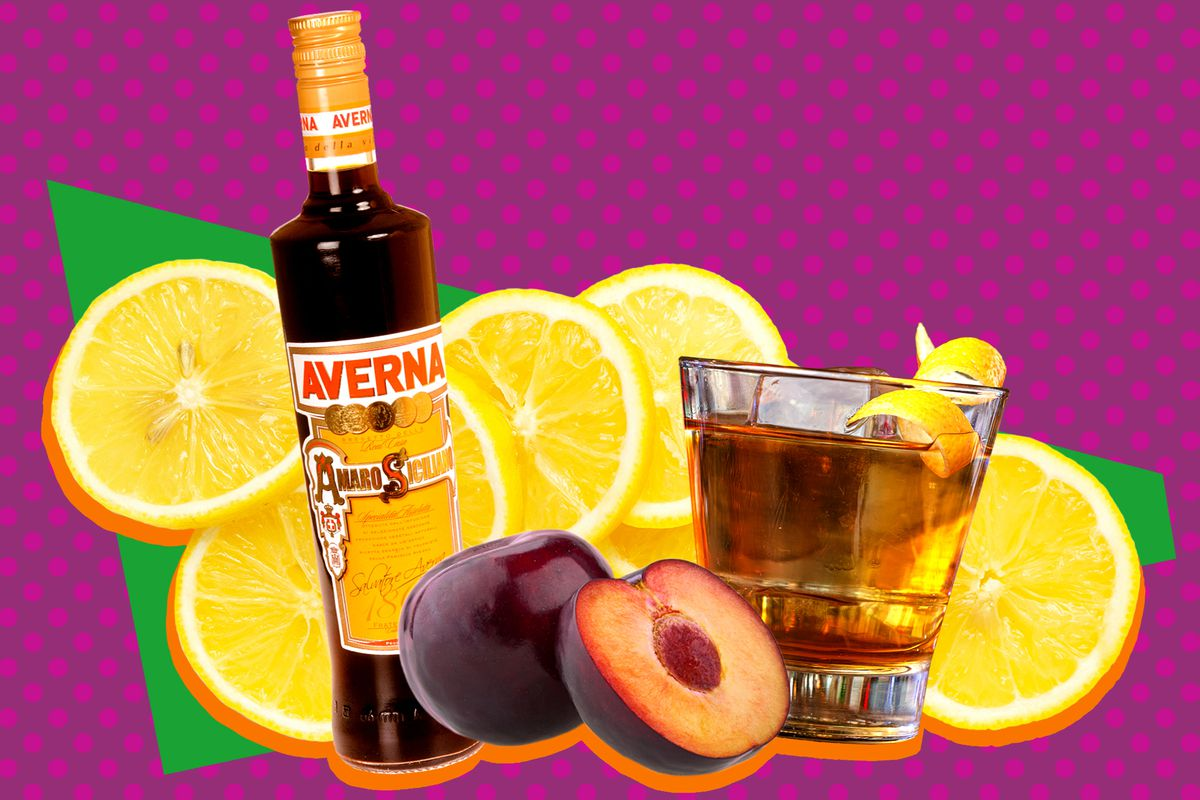 A collage of Averna amaro, a plum, lemons, and a cocktail