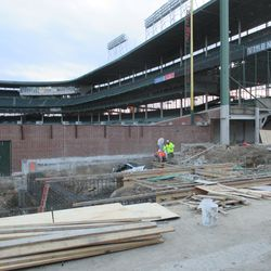 Another view of foundation prep work in left field