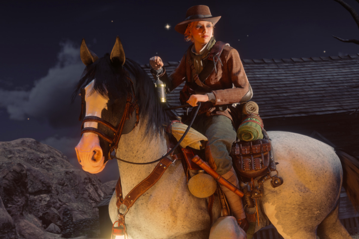 A woman sits on a horse in Red Dead Online.