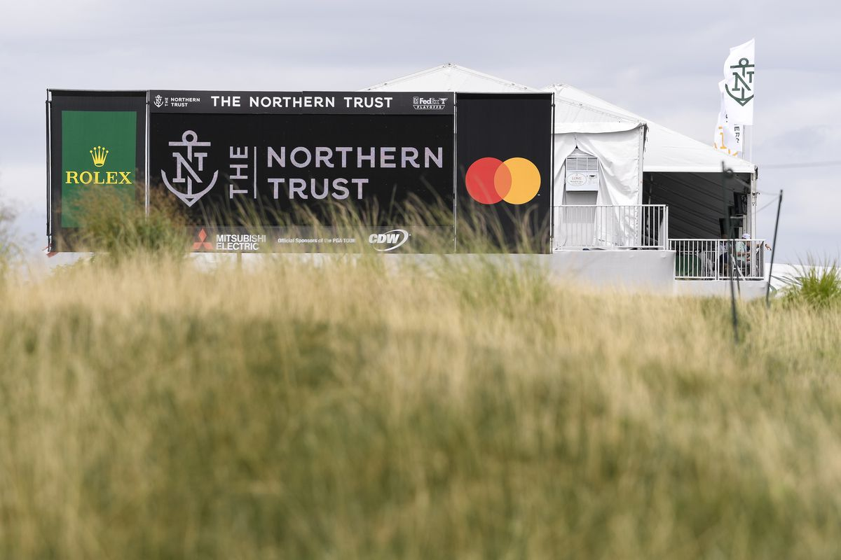 A digital board near the 18th green prior to THE NORTHERN TRUST at Liberty National Golf Club on August 17, 2021 in Jersey City, New Jersey.