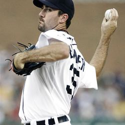 Detroit Tigers starter Justin Verlander pitches against the Seattle Mariners in the third inning of a baseball game Wednesday, Aug. 19, 2009, in Detroit. (AP Photo/Duane Burleson)